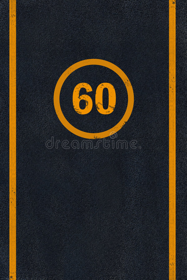 Free Yellow 60 Limit Speed Caution Marking On Asphalt Stock Photo - 6644900