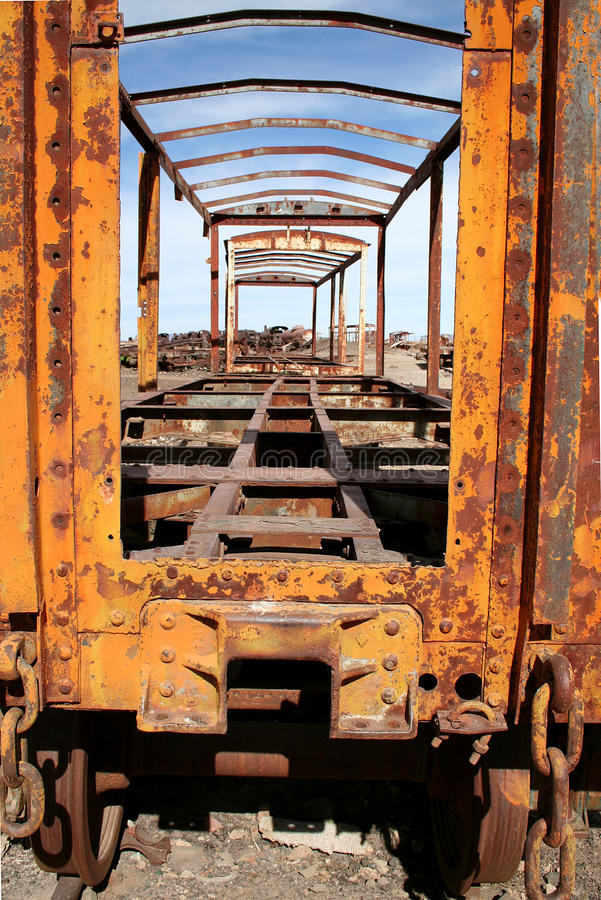 Download Yellow Abandoned Train At Uyuni, Bolivia Stock Image - Image: 12190047