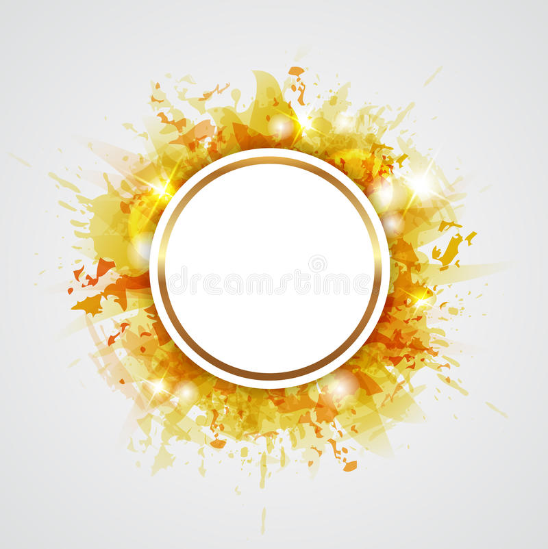 Yellow abstract backround. Yellow abstract shining vector round background royalty free illustration