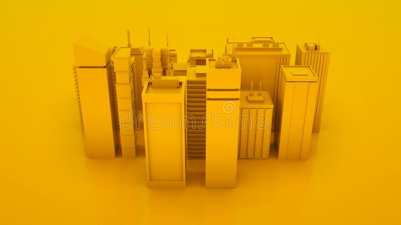Yellow abstract 3d city landscape with skyscrapers. Top view. 3d illustration stock illustration