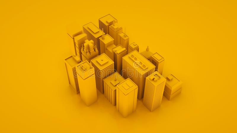 Yellow abstract 3d isometric city landscape with skyscrapers. 3d illustration vector illustration