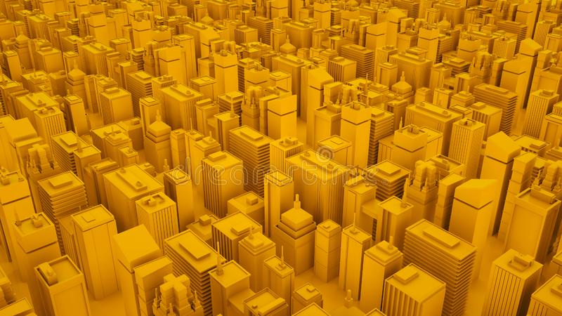 Yellow abstract 3d isometric megalopolis with skyscrapers. 3d illustration vector illustration