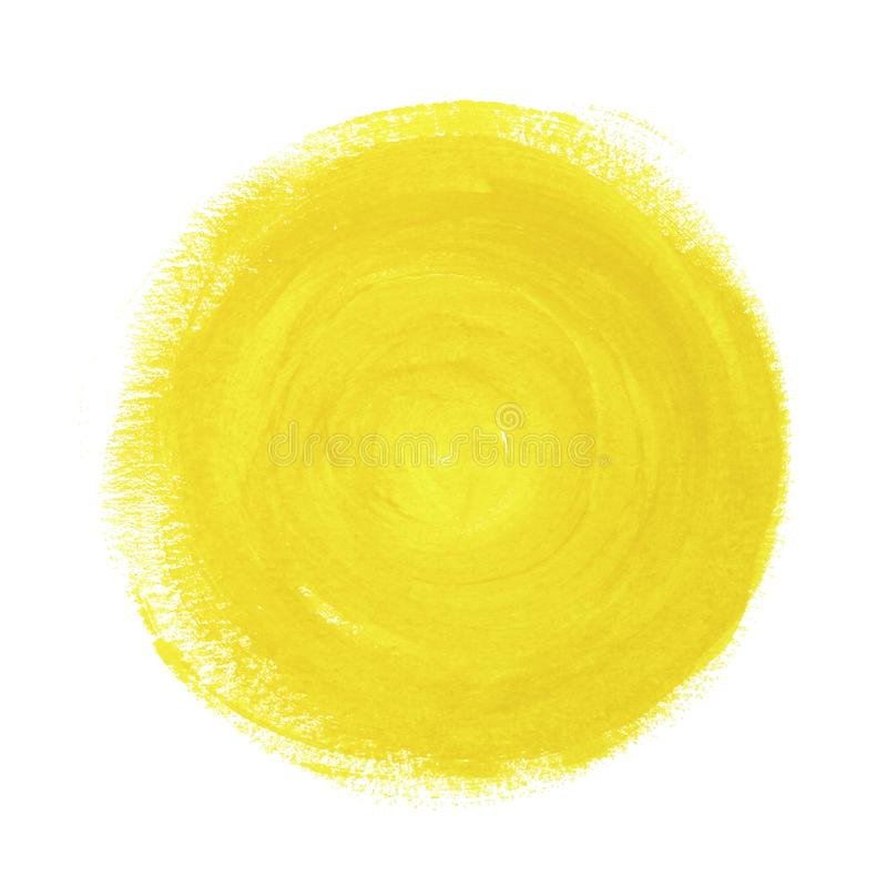 Yellow abstract painted circle on white background. stock image
