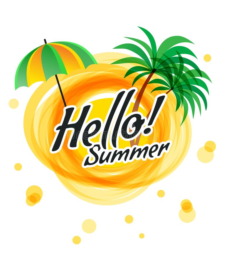 The Yellow Abstract Sun With Text Hello Summer Stock Vector