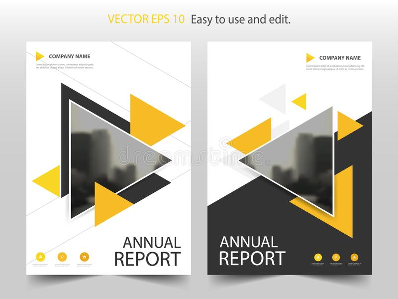 Yellow abstract triangle annual report Brochure design template vector. Business Flyers infographic magazine poster. stock illustration
