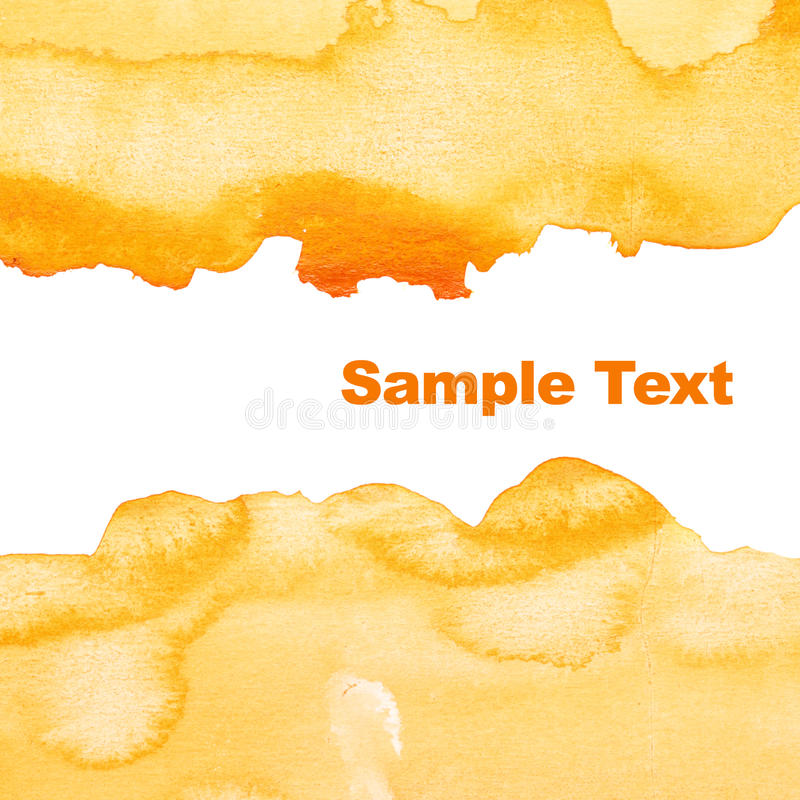 Yellow abstract watercolor background stock photos