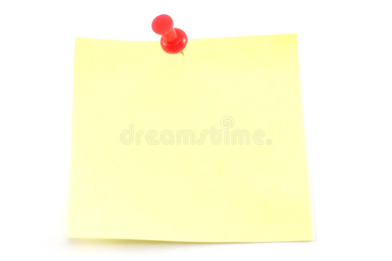 Yellow adhesive note. With pushpin royalty free stock photo