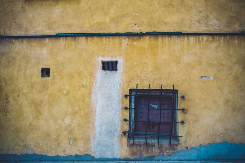 Yellow aged wall royalty free stock image