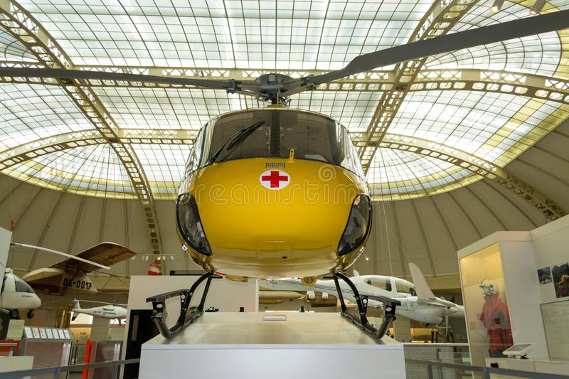 Yellow, air ambulance exposed in Technisches Museum, Vienna, Austria royalty free stock photo