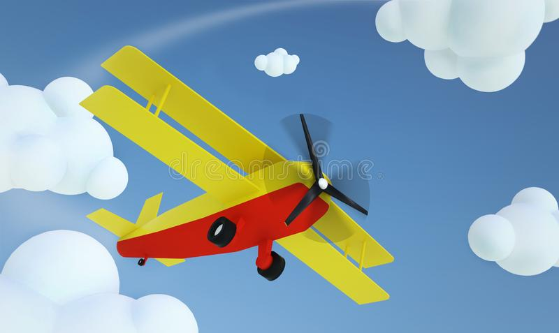 Yellow air plane flies in the clouds, 3d illustration. Airplane, travel, fly, sky, flight, aircraft, transport, business, design, vacation, art, trip, banner vector illustration