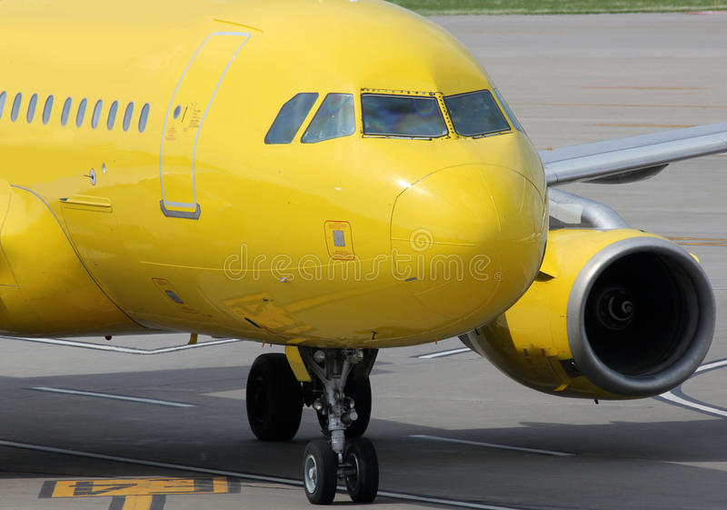 Yellow aircraft stock photography