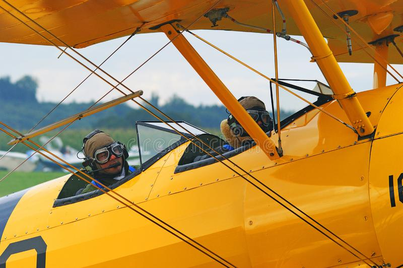 Yellow, Airplane, Aircraft, Aviation stock photo