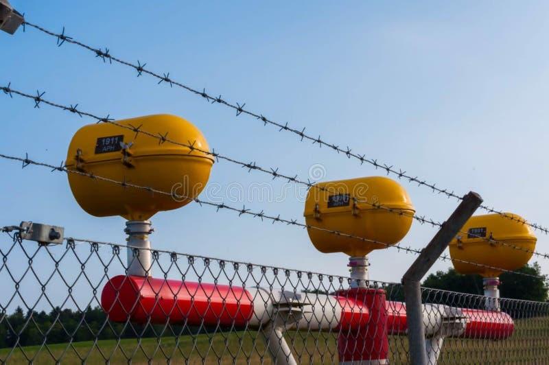 Yellow airport lights in Switzerland royalty free stock image