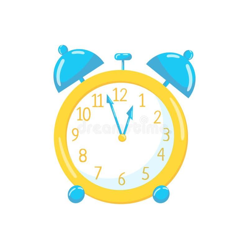Yellow alarm clock cartoon vector Illustration stock illustration