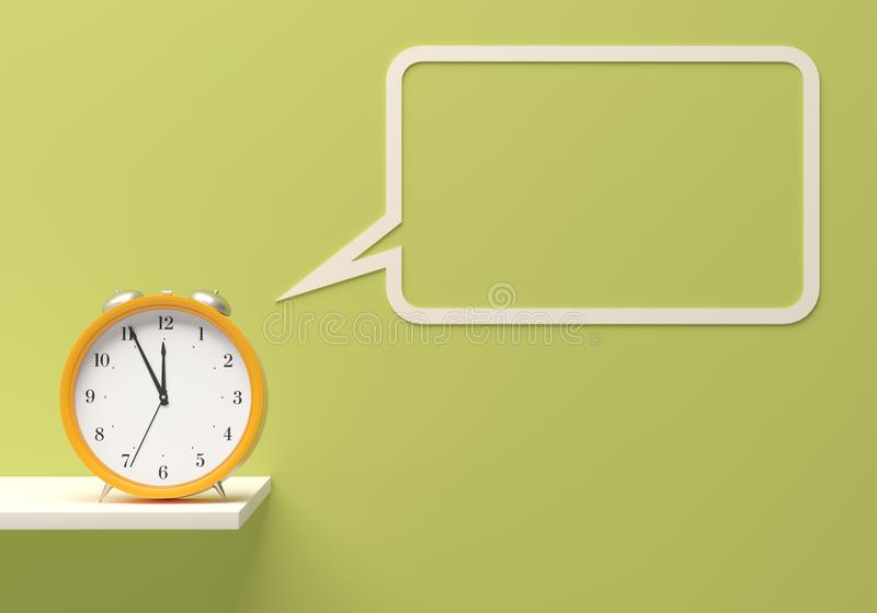 time management Mockup template On time yellow alarm clock room light green wall white furniture and talk balloon. 3d illustration stock photos