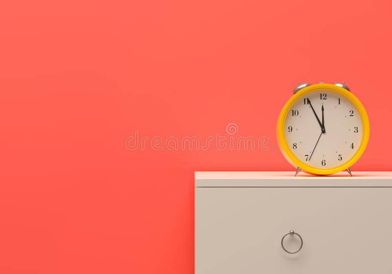 Alarm time management alert Mockup business template On time yellow alarm clock room pink wall white furniture bedside table. 3d i royalty free stock photo