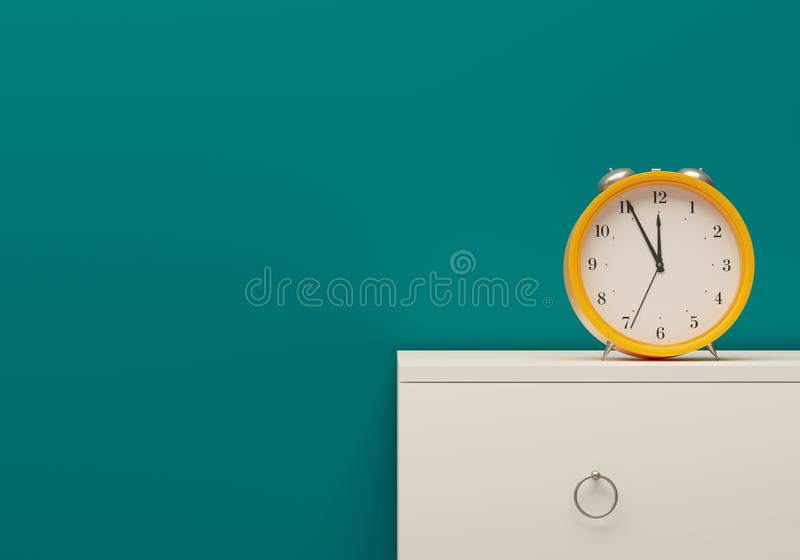 Mockup Yellow alarm clock room sea color wall white furniture bedside table. 3d illustration stock photos