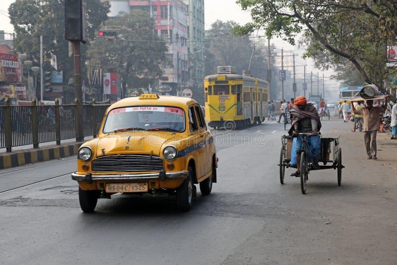 Yellow Ambassador taxi car in Kolkata stock photography
