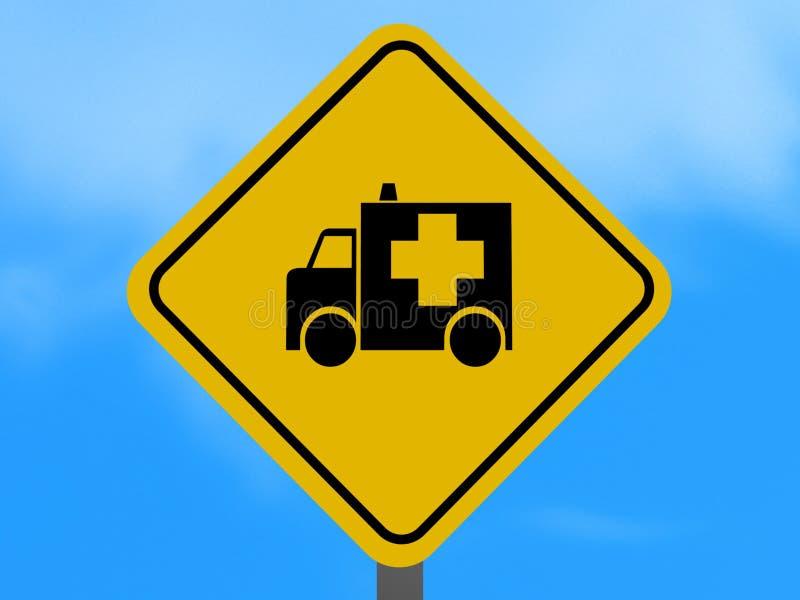 Yellow Ambulance Traffic Sign Royalty Free Stock Photo