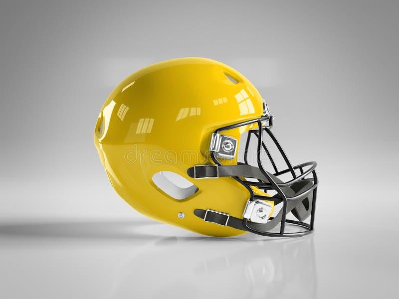 Yellow American football helmet isolated on white mockup 3D rendering. Yellow American football helmet isolated on white background mockup 3D rendering vector illustration
