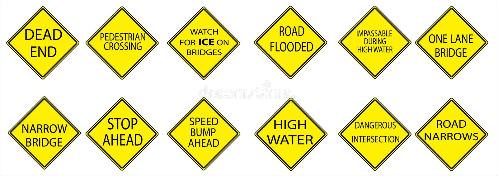 Yellow American Road Signs stock photography