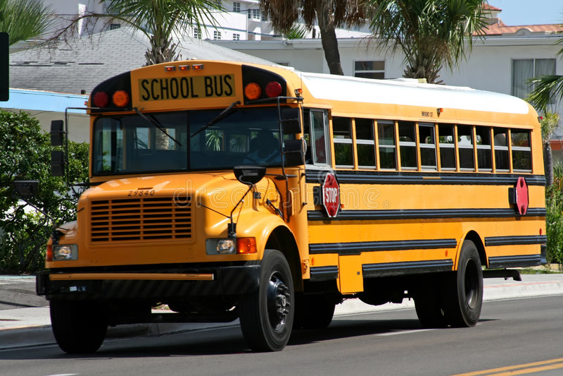 Yellow american school bus stock photography