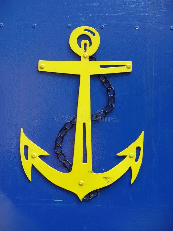 Free Yellow Anchor On Blue Metal Gate Stock Photos - 2102323