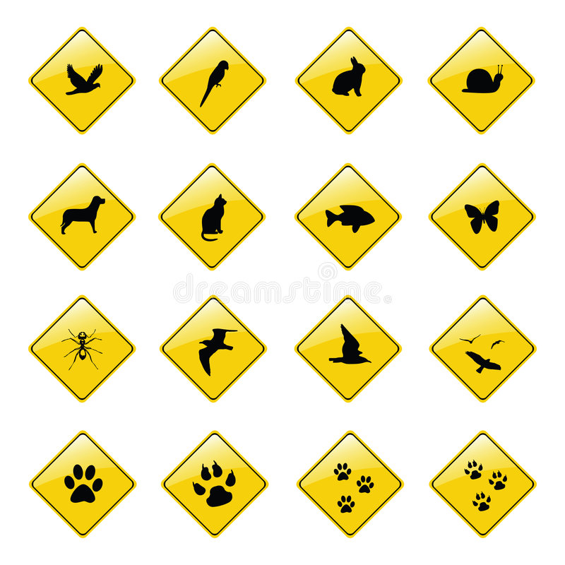 Yellow animal sign icons. Vector stock illustration
