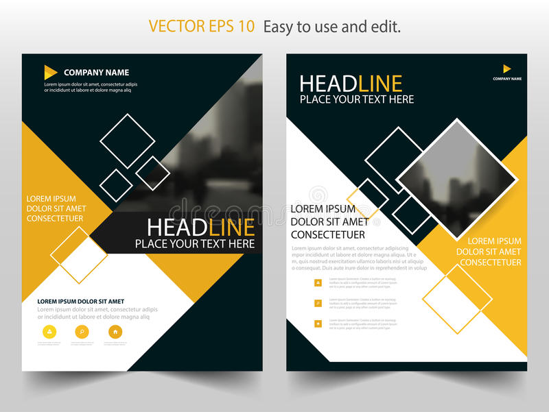 Yellow annual report brochure flyer design template vector, Leaflet cover presentation abstract flat background, layout in A4 royalty free illustration