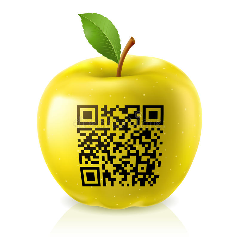 Yellow apple and QR Code stock illustration