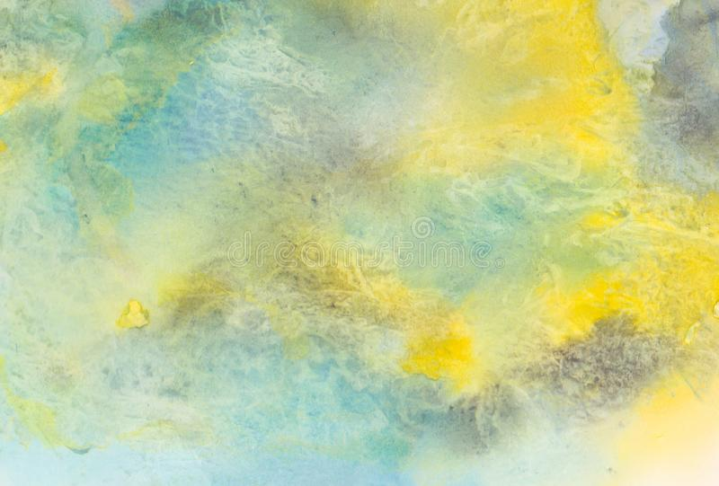 Yellow aquarell watercolor background pattern. Abstract watercolor paint background.  Hand painted seamless art, watercolor texture. Green, grey and yellow royalty free stock images