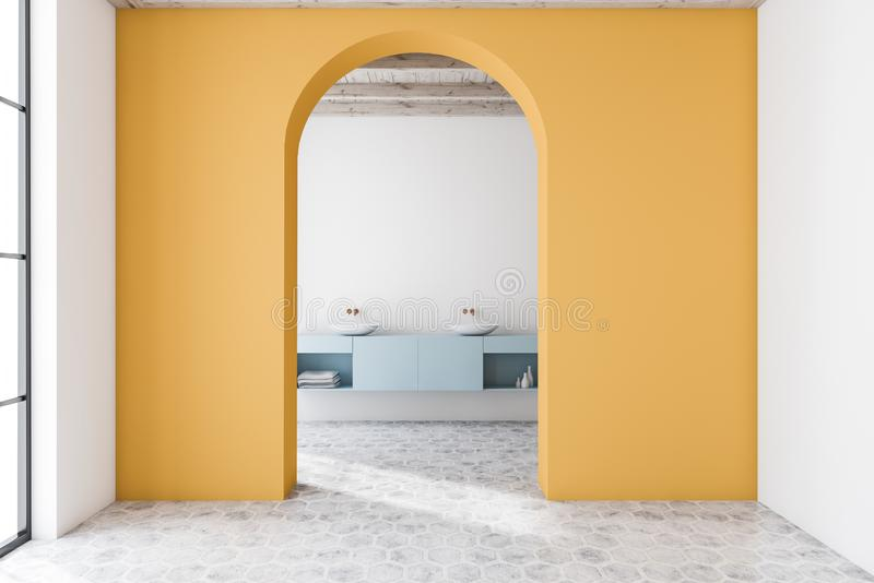 Yellow arched bathroom interior, double sink. Interior of modern bathroom with yellow and white walls, tiled floor, arched doorway and double sink on blue royalty free illustration