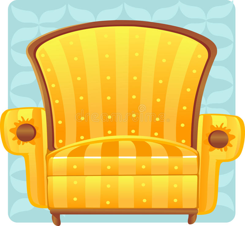 Yellow armchair on blue background royalty free stock photography
