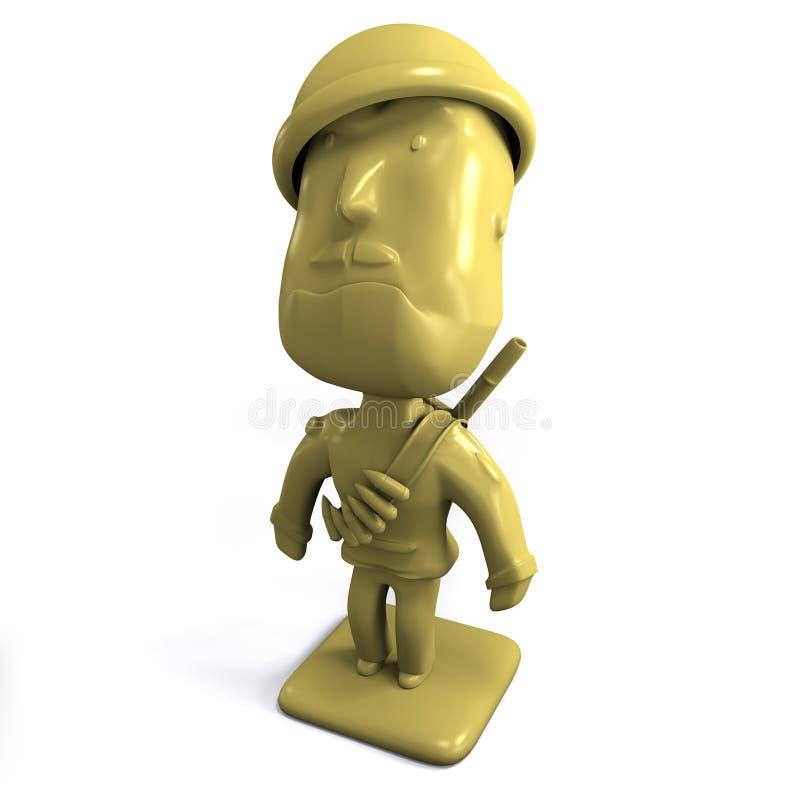 Yellow army man 3D stock illustration