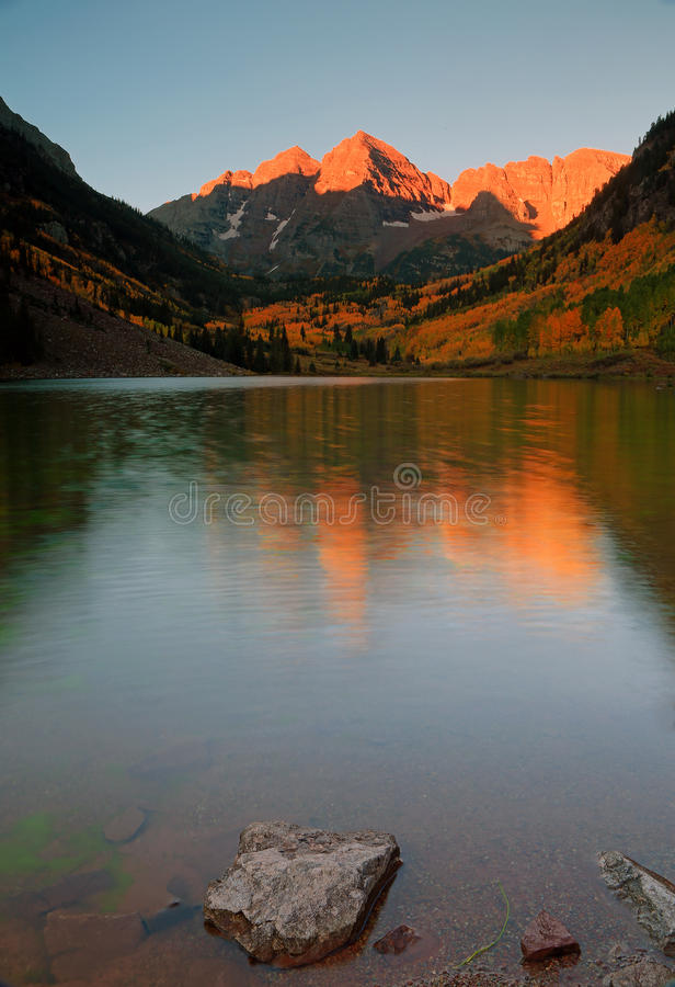 Yellow aspens at Maroon Lake in the Rocky Mountains. stock image