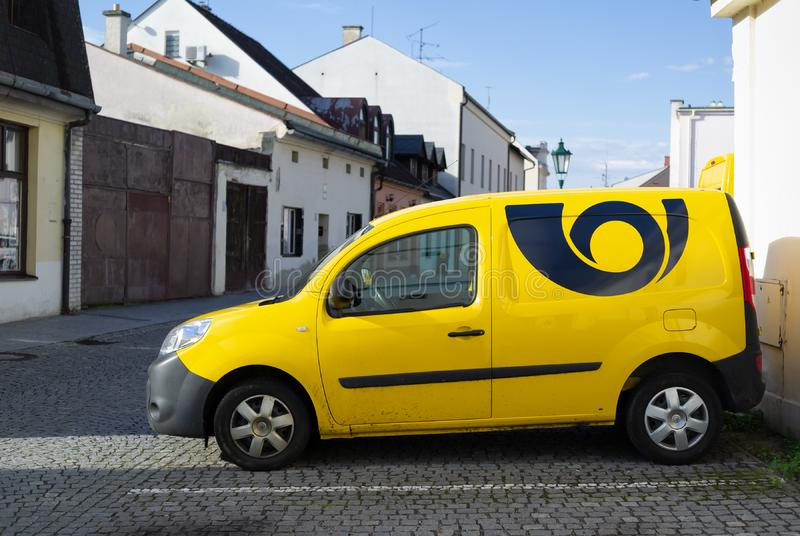Yellow auto, car and vehicle with sign - Logo and symbol of postal service in Czechia  Ceska posta, Czech post stock images