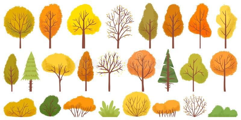 Yellow autumn trees. Colorful garden tree, autumnal garden bush and fall season tree leaves vector illustration set. Yellow autumn trees. Colorful garden tree royalty free illustration