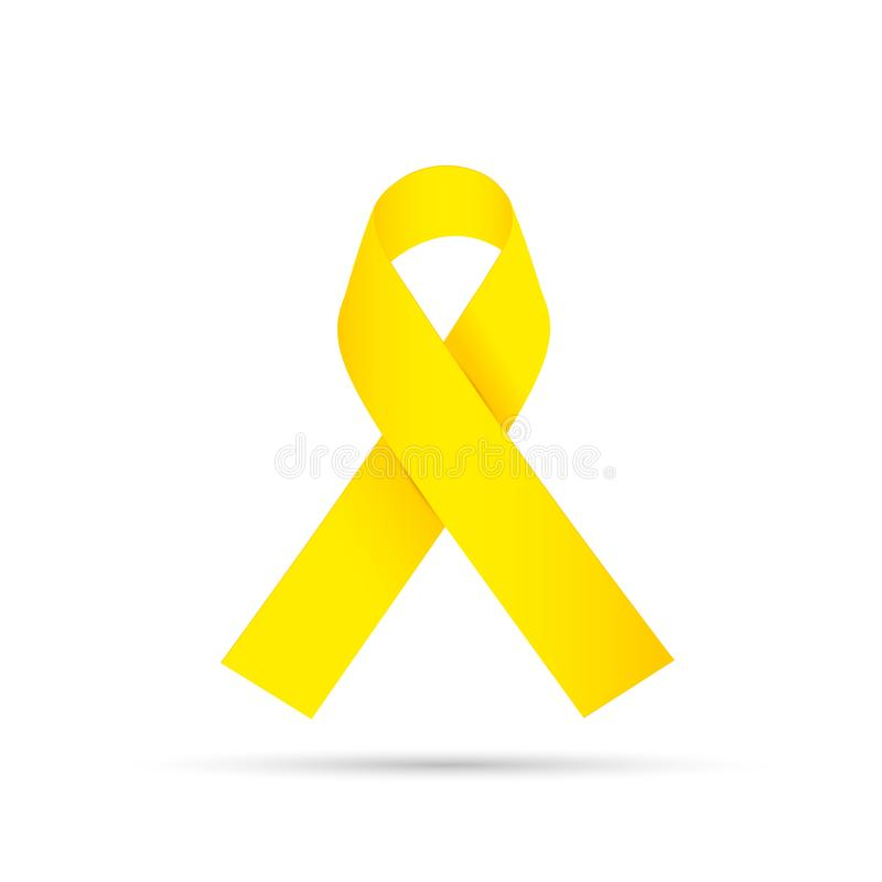Yellow awareness ribbon on gray background. Bone cancer and troops support symbol. Yellow awareness ribbon on white background. Bone cancer and troops support royalty free illustration