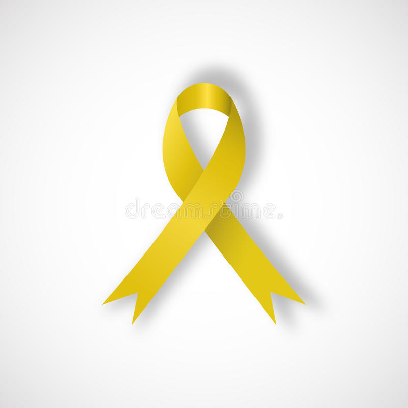 Yellow awareness ribbon. On white background. Bone cancer and troops support symbol. Vector illustration royalty free illustration