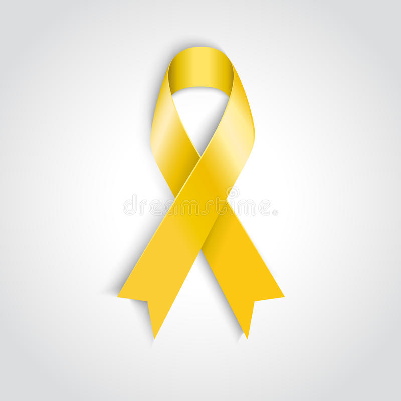 Yellow awareness ribbon on white background. Vector Yellow awareness ribbon on white background. Bone cancer and troops support symbol stock illustration