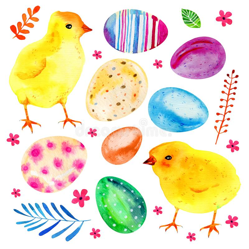 Yellow baby chikens, Easter eggs and flowers. Hand drawn watercolor illustration set vector illustration