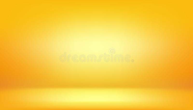 Yellow background, abstract gradient studio and wall texture vector and illustration, can be used presented your product. S, light, color, design, orange, bright royalty free illustration