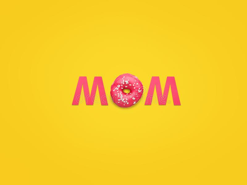 Word Mom with pink letters royalty free stock photo
