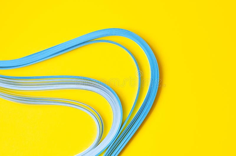 Yellow background with blue abstract blue lines stock image