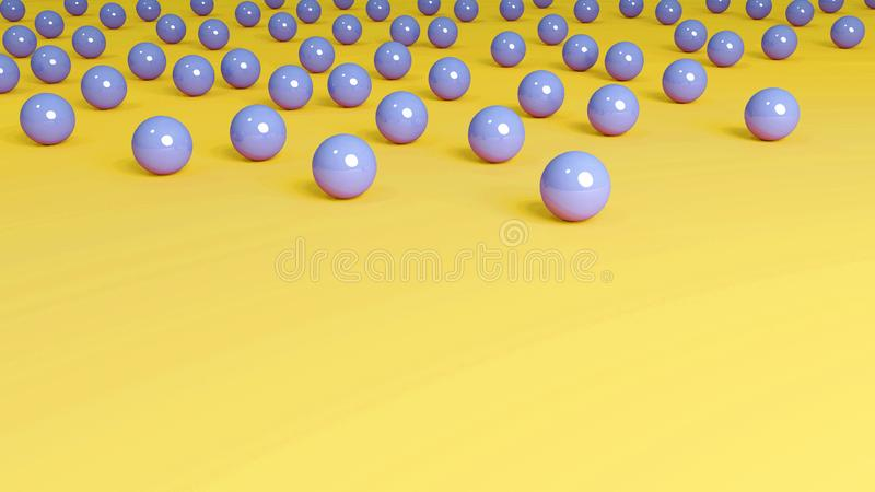 Yellow Background Blue Marbles stock photography