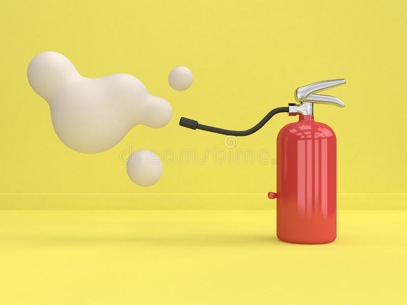 Yellow background 3d rendering cartoon style minimal abstract fire extinguisher. Cartoon style minimal abstract fire extinguisher yellow background 3d rendering royalty free illustration