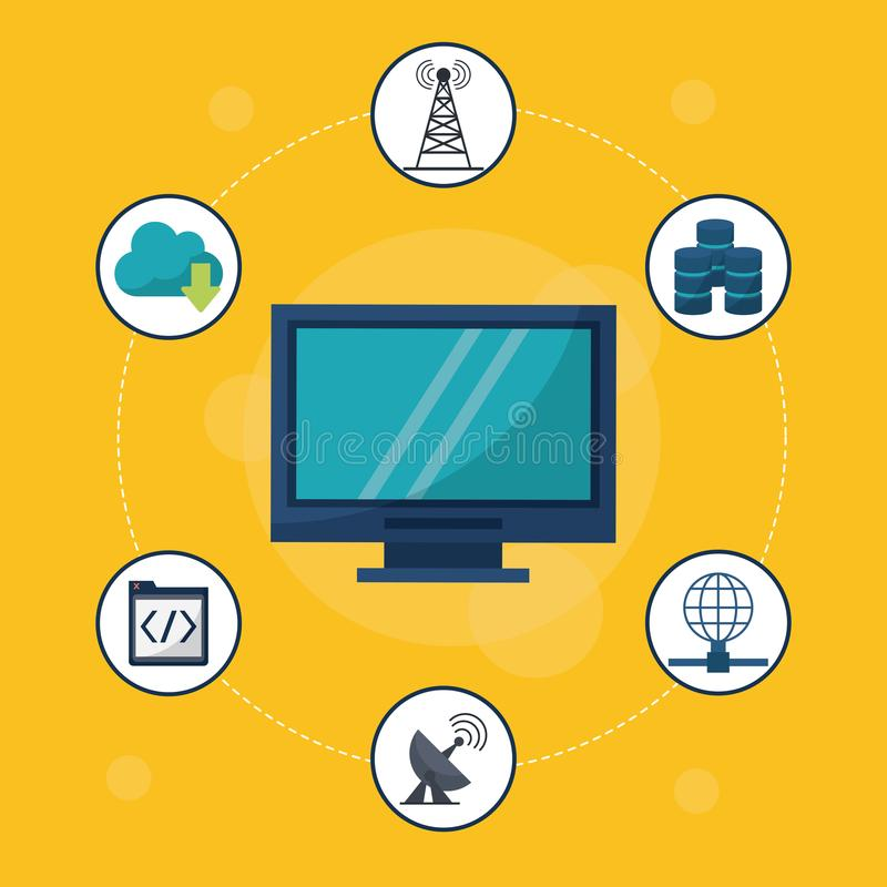Yellow background with desktop computer in closeup and networking icons around. Vector illustration royalty free illustration
