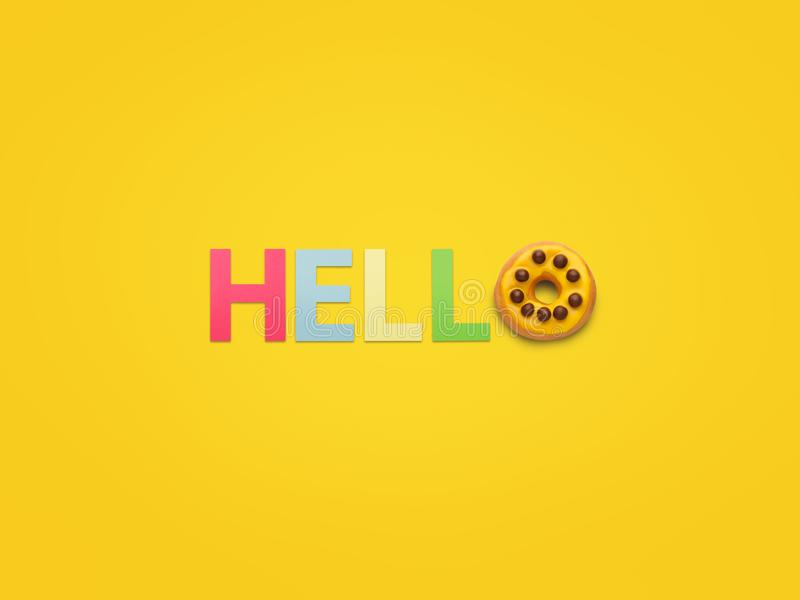 Greeting made with letters on yellow stock images
