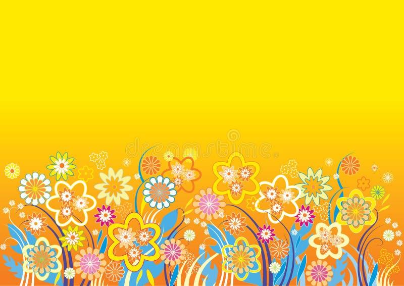 Yellow_background_flowers_vector vektor abbildung