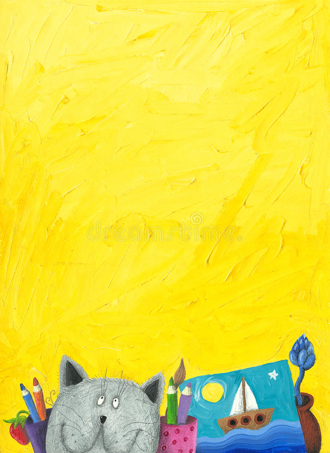 Yellow background with funny cat